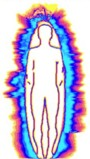 This picture gives you an idea of what we see when using a GDV camera to capture energy radiance of a person