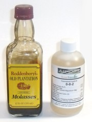 Molasses and ocean trace minerals are great food sources for microbes in the compost pile.